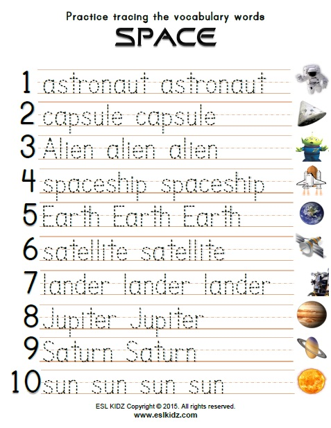 Space - Activities, Games, and Worksheets for kids