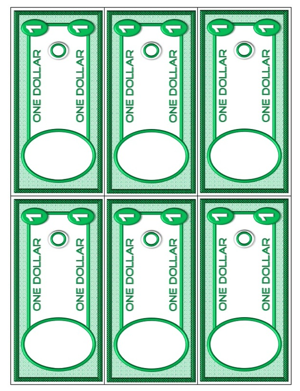 money templates for school