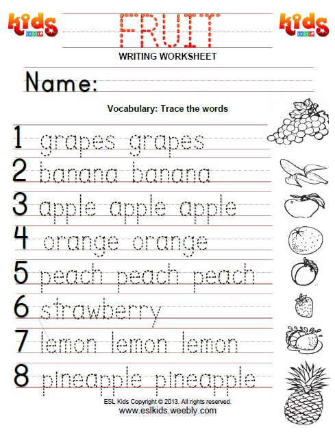 Fruit - Activities, Games, and Worksheets for kids