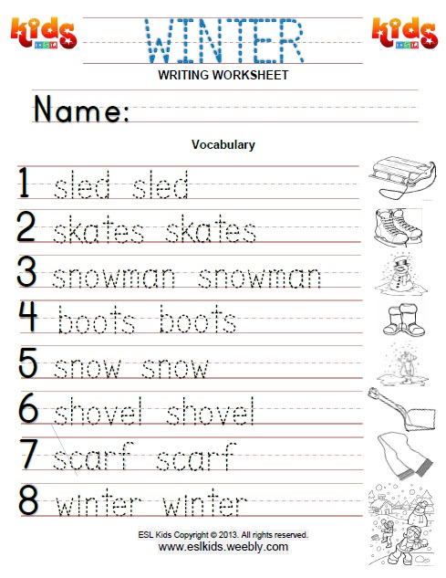 winter activities games and worksheets for kids. Black Bedroom Furniture Sets. Home Design Ideas