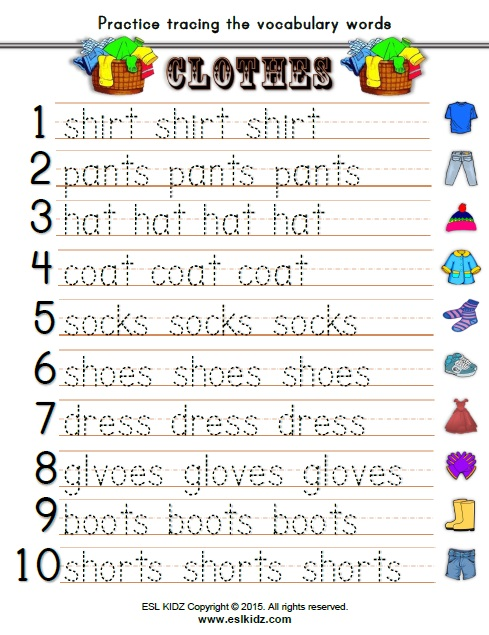 Clothes - Activities, Games, and Worksheets for kids