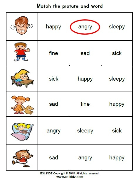 Identifying feelings worksheet for kindergarten