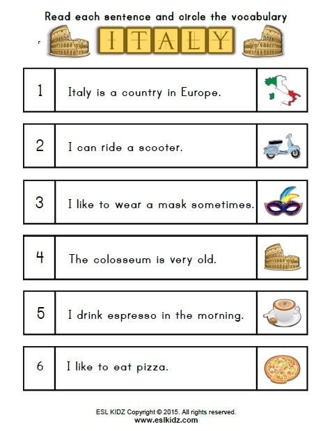 Italy Worksheets - Activities, Games, and Worksheets for kids