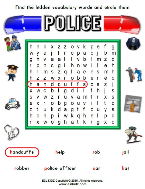 police - Activities, Games, and Worksheets for kids